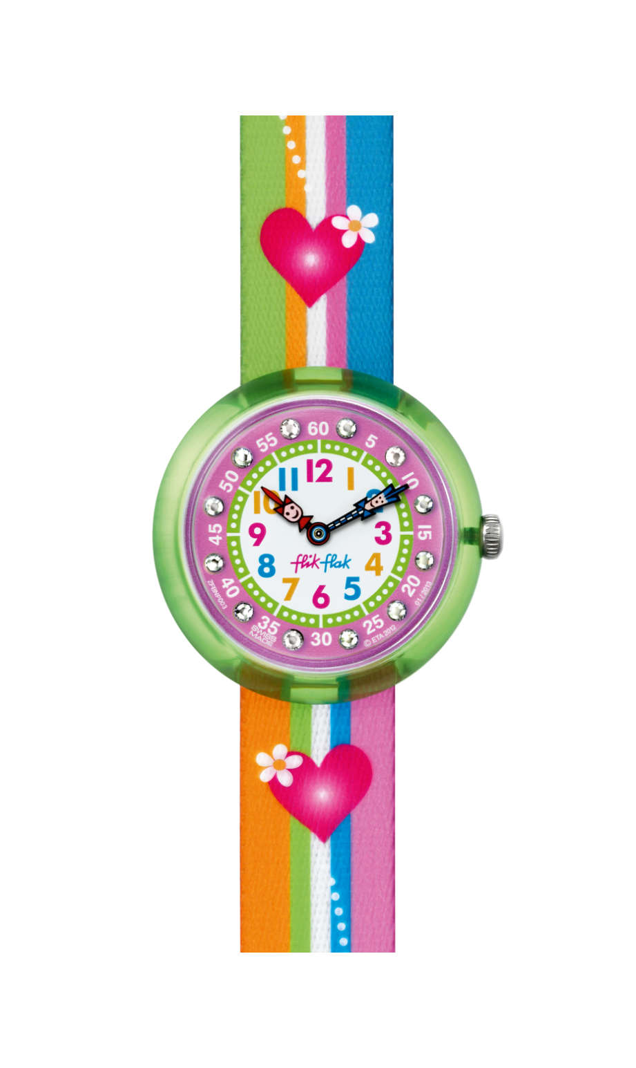 Flik Flak Stripy Stripes, FBNP003, green - girls watches, swatch for kids