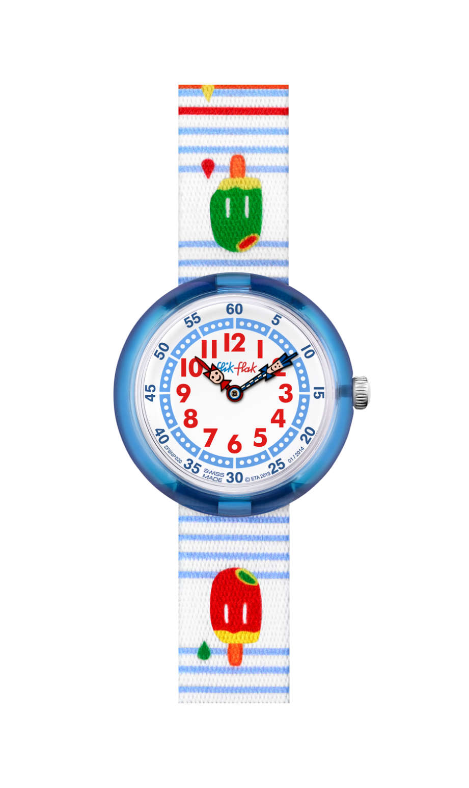 Flik Flak Icy Party, FBNP020C, kids watch, white, swatch for kids