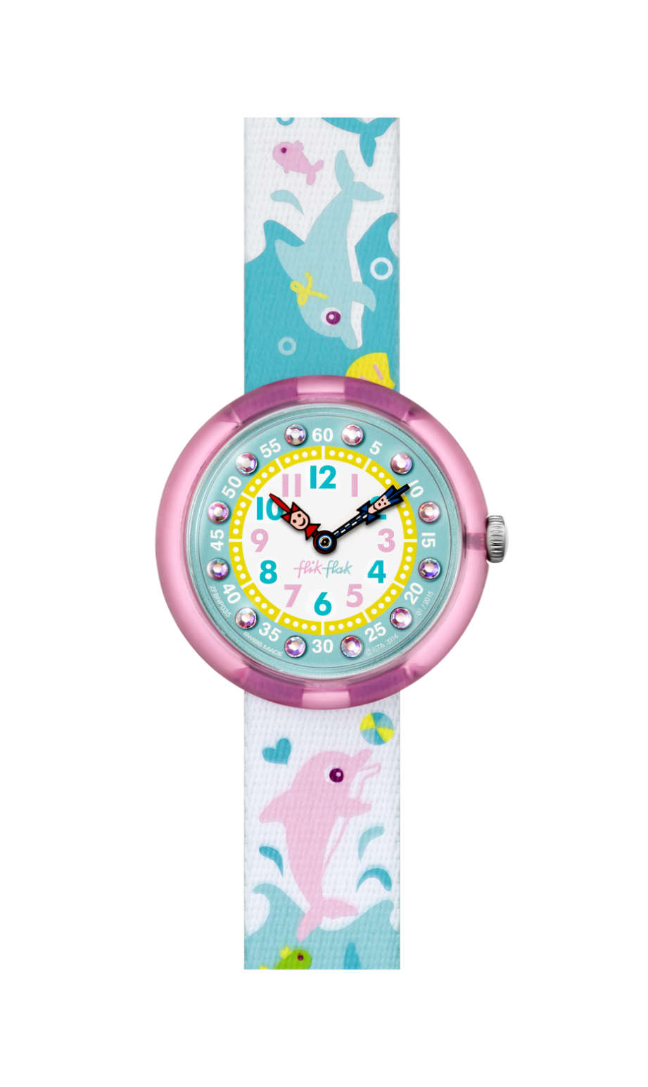 Flik Flak Splashy Dolphins, FBNP035, kids watch, blue, swatch for kids