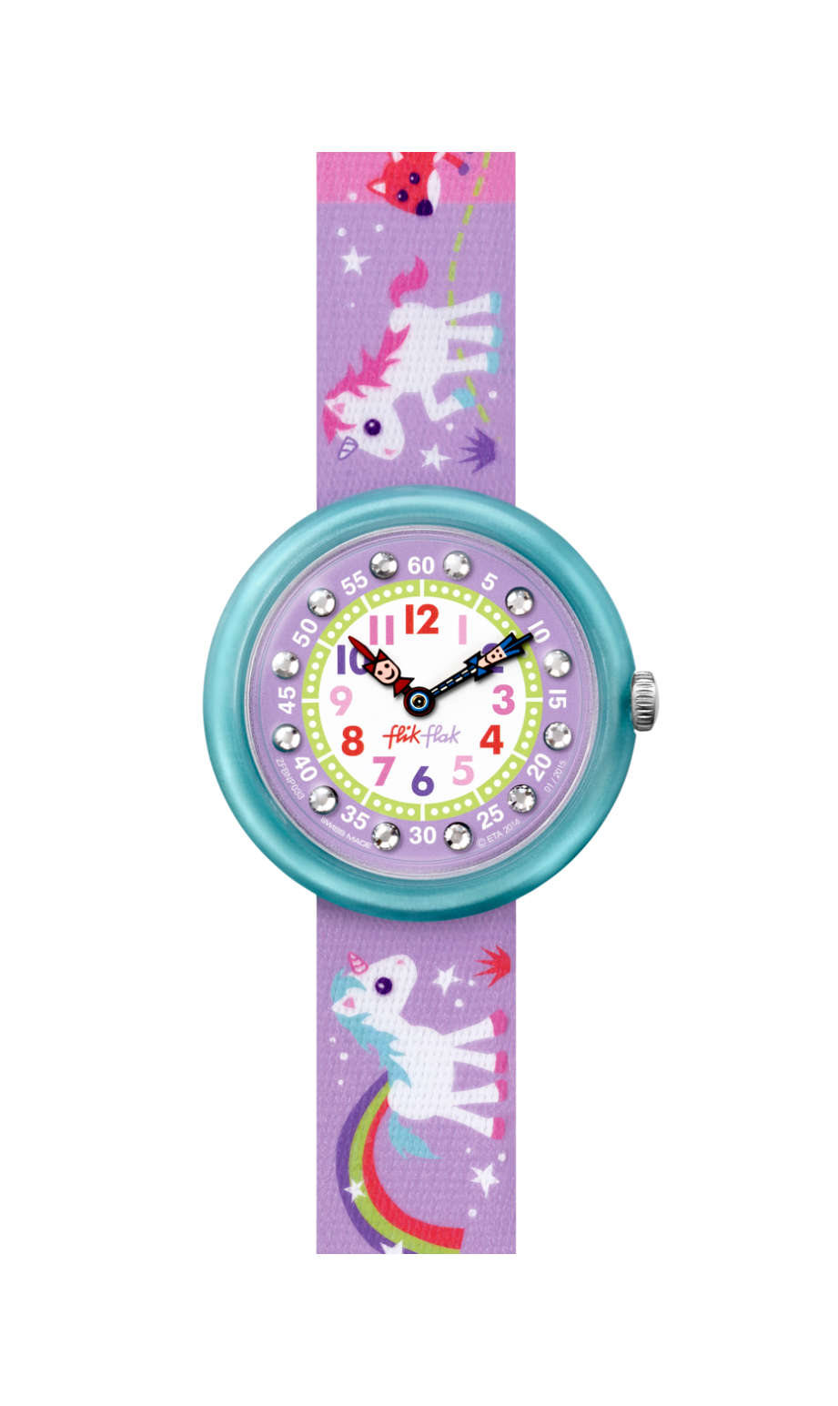 Flik Flak Magical Unicorns watch, FBNP033, purple, swatch for kids