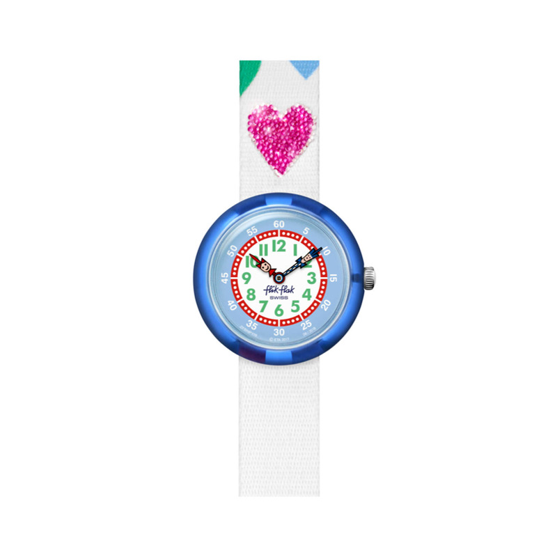 Personalisable Flik Flak Your Love My Heart, Blue, Analogue, Blue Plastic Case, White Textile Strap, 3 Bar Water Resistance, Fbnp116p, Swatch For Kids